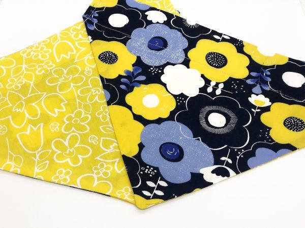 Blue and Yellow Floral dog bandana