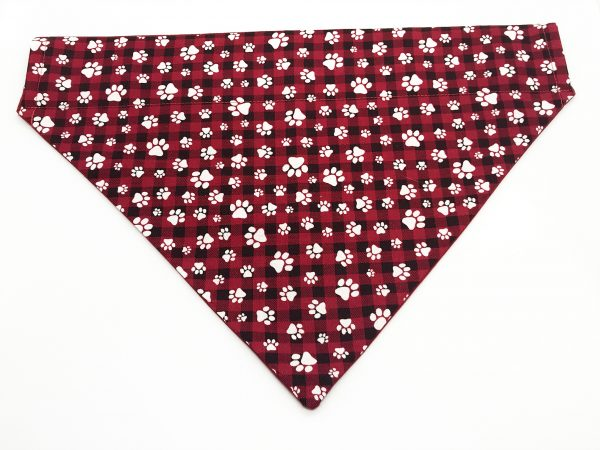 Red and Black Check Paw Print dog bandana