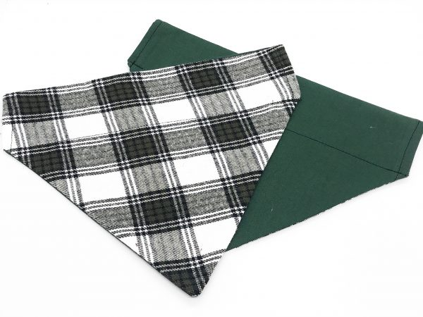 Green and White Plaid dog bandana