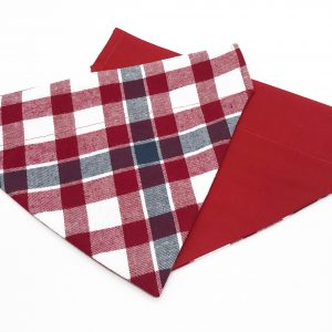 Red, White and Gray Plaid dog bandana