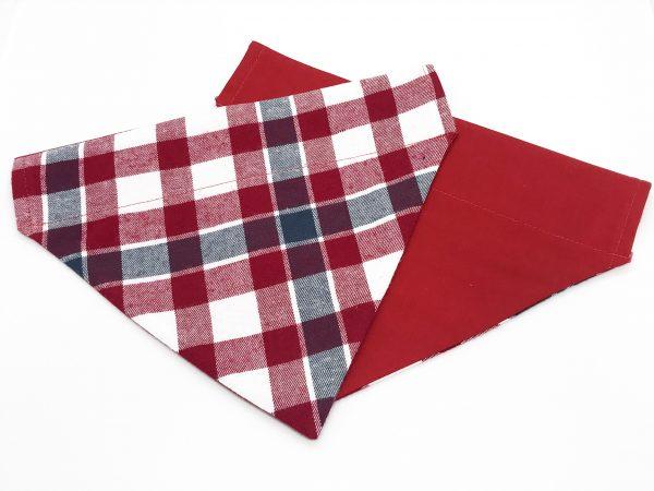 Red, White and Gray Plaid dog bandana