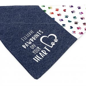 Denim Pawprints dog bandana