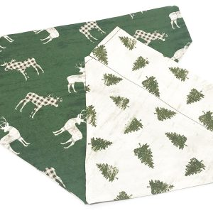 Country Deer and Christmas Trees Reversible Dog Bandana