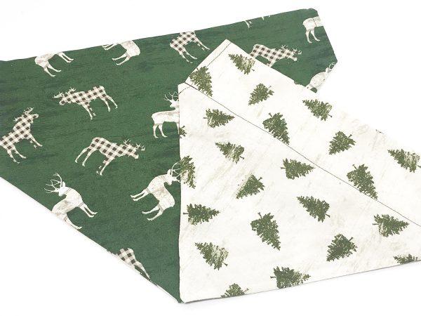 Country Deer and Christmas Trees Reversible Dog Bandana