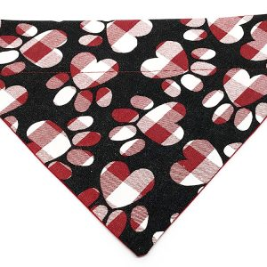 Red and White Checked Paw Print Hearts Dog Bandana