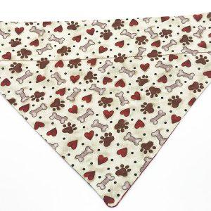 Paw Prints, Hearts and Bones dog bandana
