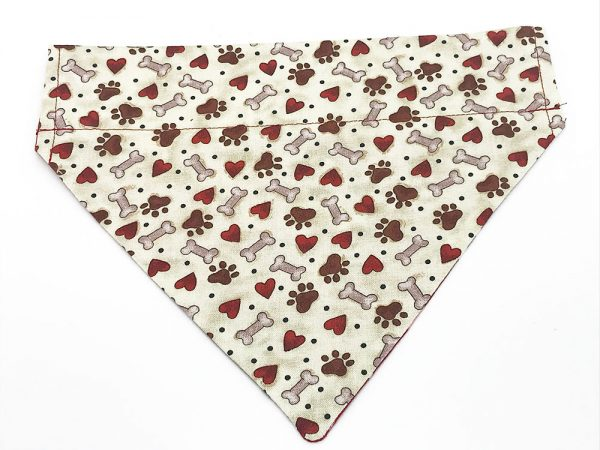 Paw Prints, Hearts and Bones dog bandana